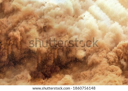 Close up of dust storm after detonator blast on the mining site  Foto d'archivio ©