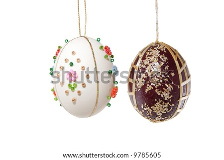 close-up of easter egg isolated on white, clipping path included