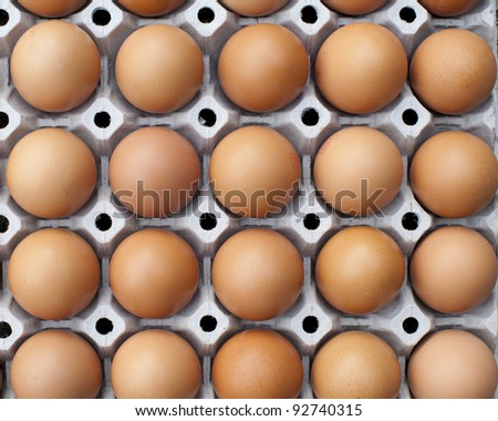 close up of eggs in cardboard container