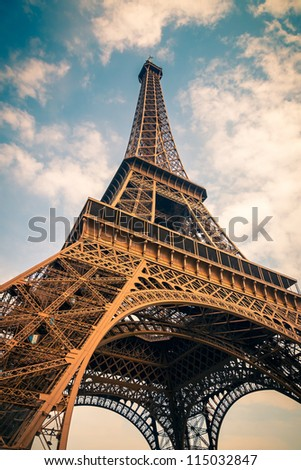 Close up of Eiffel Tower, Paris