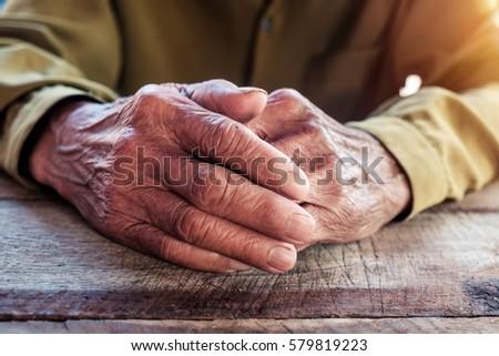 close up of elderly oldman...
