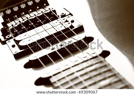 Guitar Pickups Too Close To Strings : close up of electric guitar body strings and string pickups a humbucker pickup and two single ~ Russianpoet.info Haus und Dekorationen