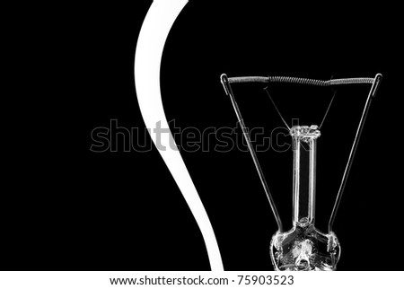 Close-up of electrical bulb. Isolated on black