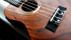 Close up of electro-acoustic ukulele; ukulele strings, saddle, soundhole, ukulele body, neck, fretboard. Electric acoustic ukulele with built in pick up. Fretted folk instrument, wooden, inlay.