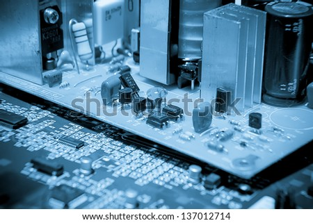 close-up of electronic circuit board  low contrast light