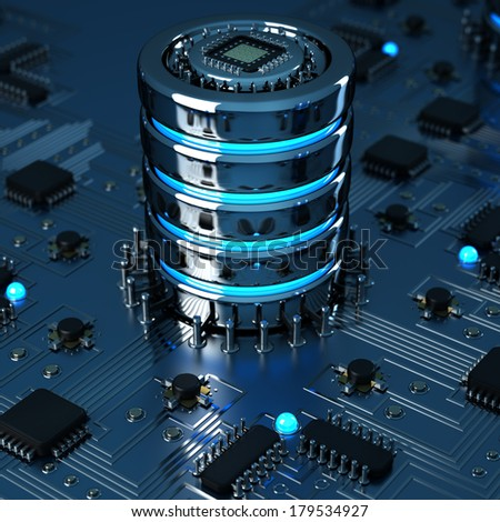 close-up of electronic circuit board with processor High resolution 3d render