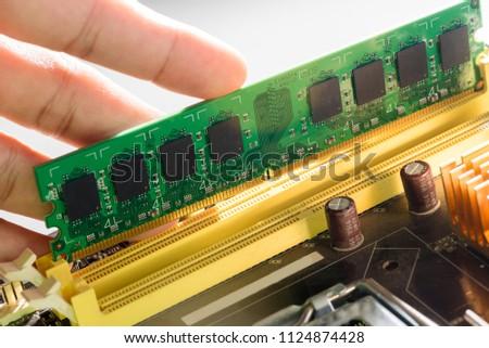 close up of electronic ram...