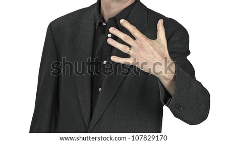 Close-up of elegance man hands with ring