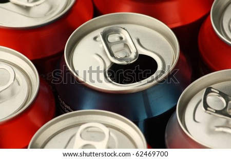 Close up of empty soft drink or soda cans used and ready for waste disposal and recycling