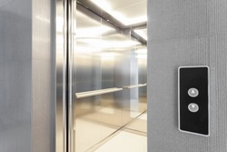 Close-up of entry to elevator in modern building