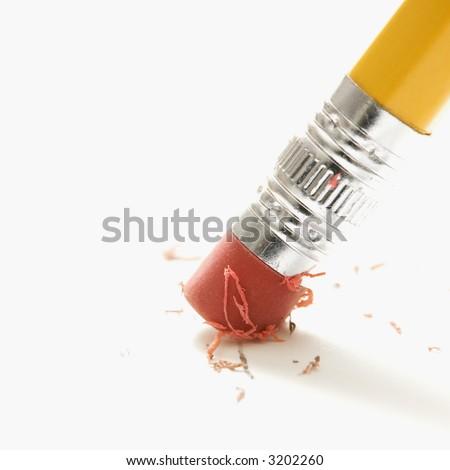 Close up of eraser erasing.