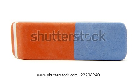 close up of eraser on white background  with clipping path