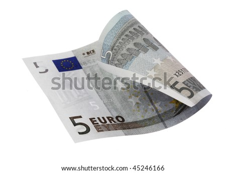 Close-up of 5 Euro bill isolated on a white background