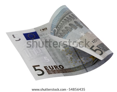 Close-up of 5 Euro bill,isolated on white with clipping path.