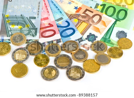close-up of euro currency. coins and banknotes. money background