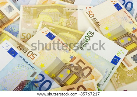 Close-up of Euro money