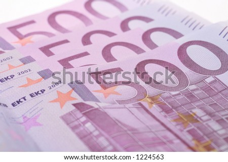 close-up of Euro Money on white
