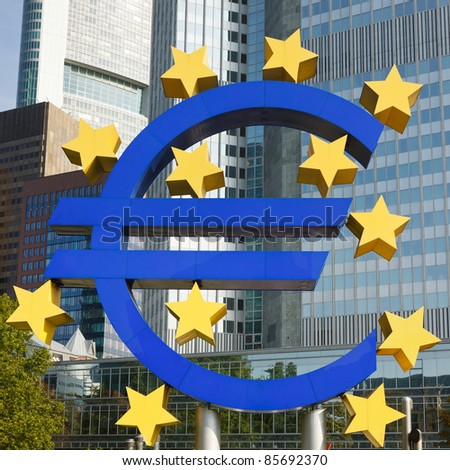 Close-up of Euro Symbol at the European Central Bank (ECB) in Frankfurt, Germany.