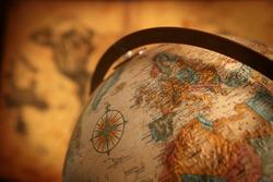 Close up of europe on globe