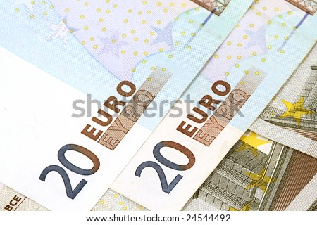 close up of European currency banknotes