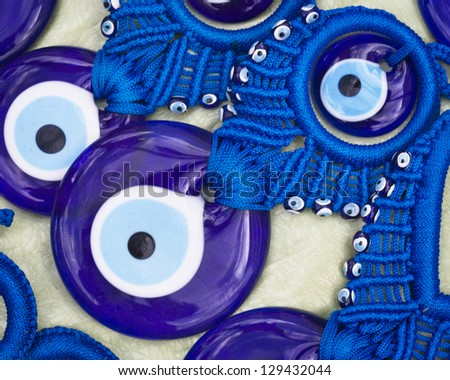Close-up of evil eye beads at market in Turkey