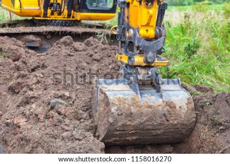 Close-up of excavator bucket