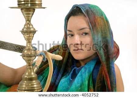 close-up of exotic woman with water pipe