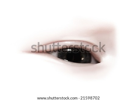 close-up of eye on a white background