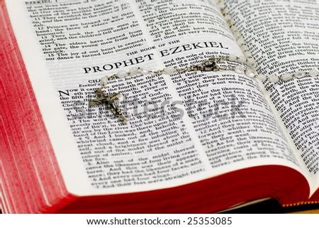 Ezekiel Bible Verses Close up of Ezekiel Bible Page