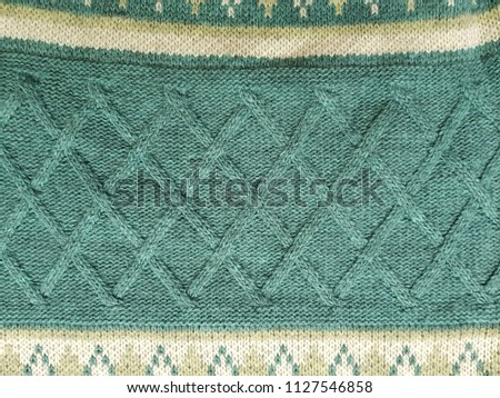 Close up of fabric knitting pattern cotton rhombus texture background #1127546858