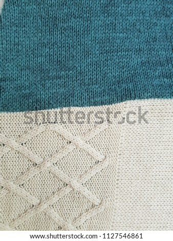 Close up of fabric knitting pattern cotton rhombus texture background #1127546861