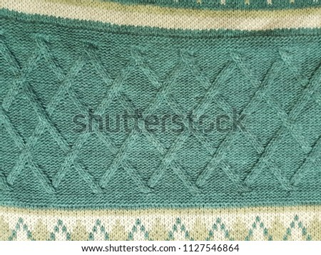 Close up of fabric knitting pattern cotton rhombus texture background #1127546864