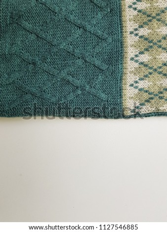 Close up of fabric knitting pattern cotton rhombus texture background #1127546885