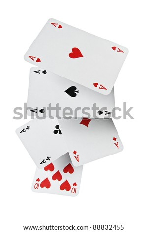 Close up of falling poker playing cards with clipping path