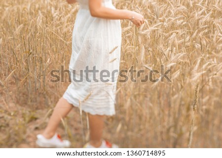 Close-up of feet walking on the golden wheat at sunny day. Enjoying nature. Beautiful girl in the rays of sunlight. Sunlight. #1360714895