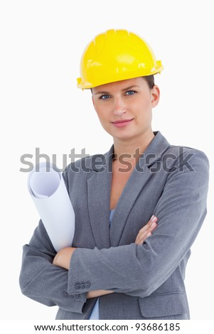 Close up of female architect with helmet and plans against a white background