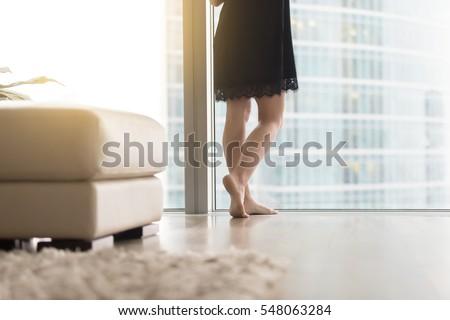 close up of female bare legs...