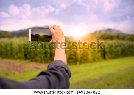 Close up of female hands holding smartphone and taking photo or video. Woman traveler on a background of beautiful  landscape takes photos on a mobile phone. Travel concept.