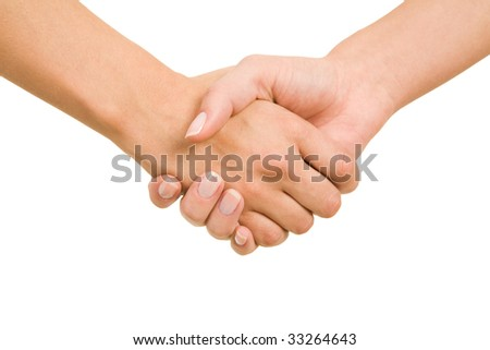 Close-up of female hands making an agreement on a white background