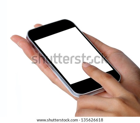 Close-up of female hands using a smart phone,isolated on white