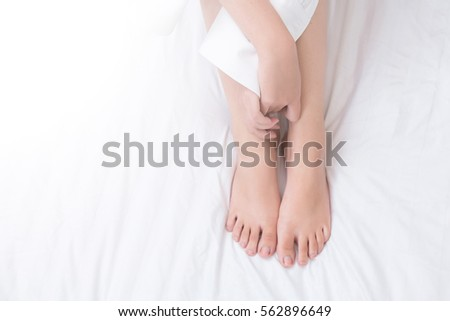 close up of female legs on her...