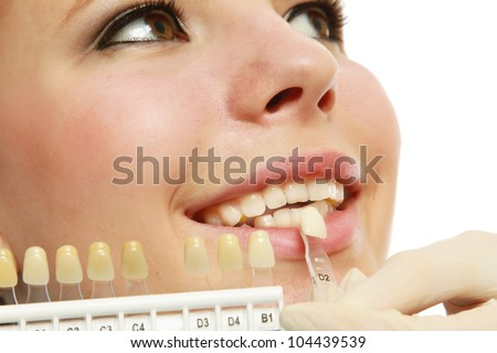 Close-up of female patient at dentist's