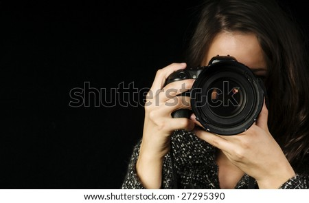 Close-up of Female Photographer w/SLR