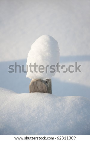 Close up of fence in deep snow
