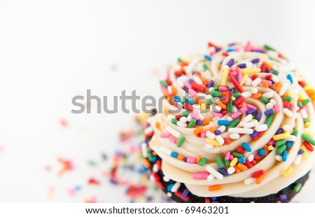 Close Up of Festive Cupcake Frosting Top with Sprinkles