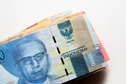 Close up of Fifty Thousands of Indonesian Rupiah Banknotes