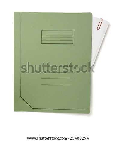 close up of file folders on white background, with clipping path