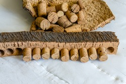 Close-up of Finished Cork Bark Ready for Manufacturing into Cork Stoppers for Wine and Champagne Bottles.