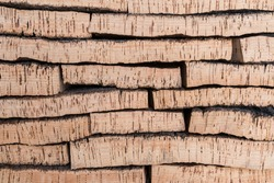 Close-up of Finished Cork Bark Ready for Manufacturing into Cork Stoppers for Wine and Champagne Bottles