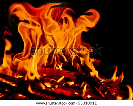 Close up of fire and flames on a black background